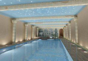Натяжной потолок в бассейне