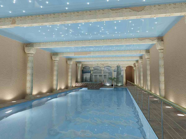 натяжной потолок в бассейне фото